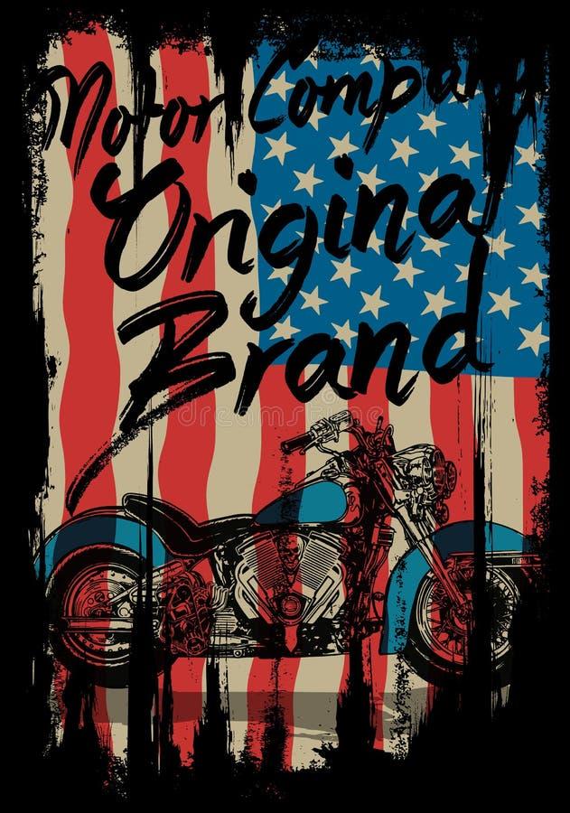 Motocyklu trójnika grafika z usa flaga ilustracji