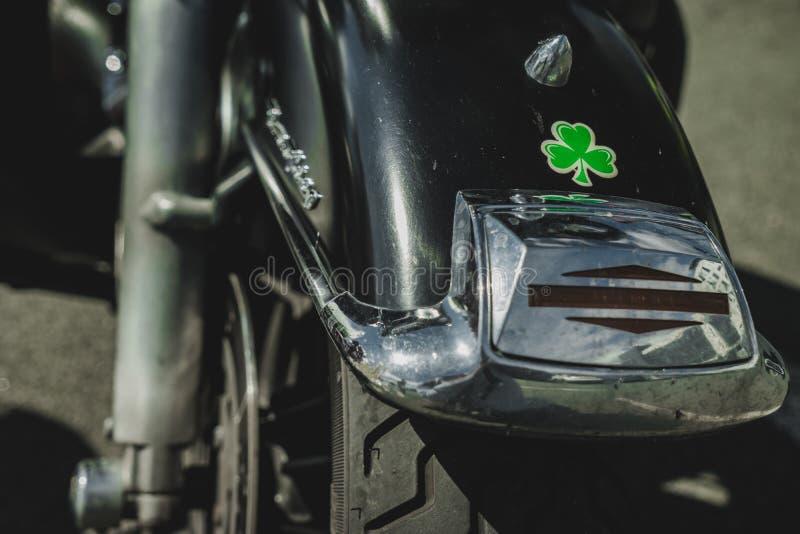 Motocyklu tylny fender z shamrock fotografia royalty free