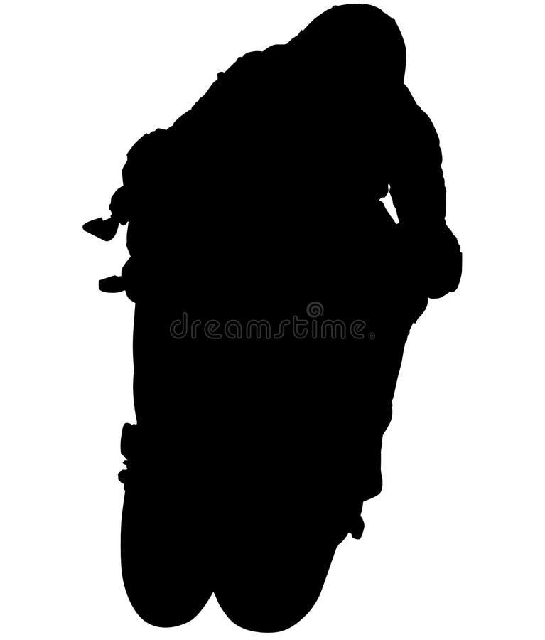 MotoGP Bike - motorfiets met racer acceleratie, motorfiets op achterwiel Wheelie silhouet stock illustratie