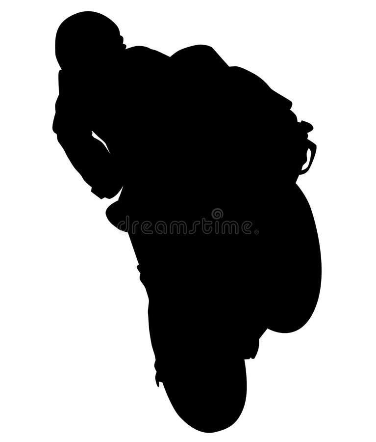 MotoGP Bike - motorfiets met racer acceleratie, motorfiets op achterwiel Wheelie silhouet royalty-vrije illustratie