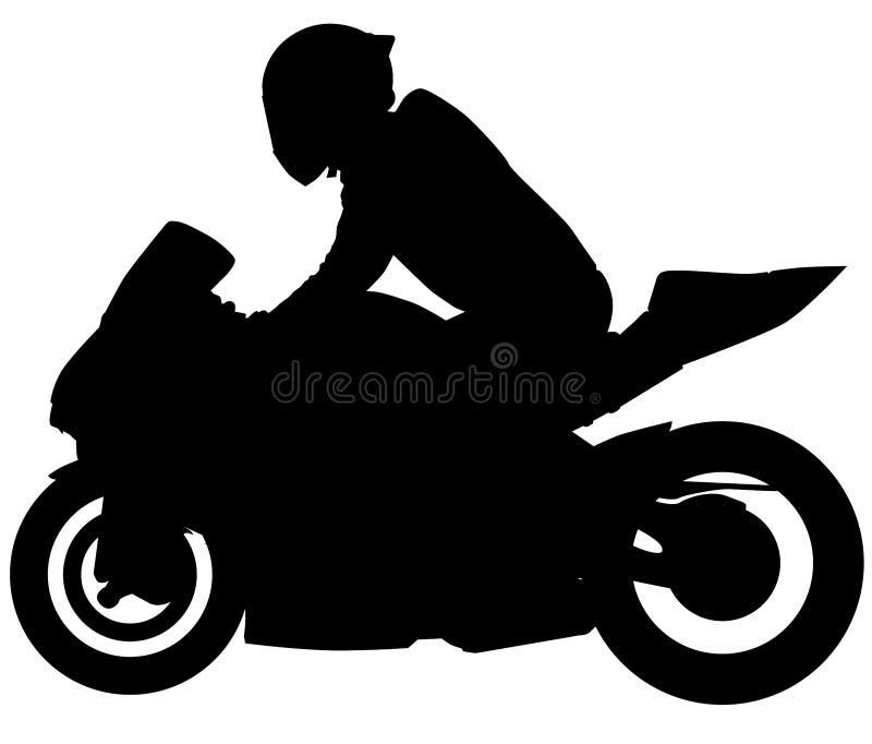 MotoGP Bike, motorfiets met racer naast silhouet vector illustratie