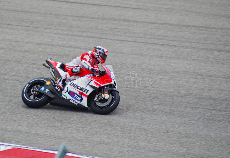 MotoGP rider Andrea Dovizioso Austin Texas 2015. Italian Ducati MotoGP rider Andrea Dovizioso races in Austin Texas 2015 royalty free stock photo