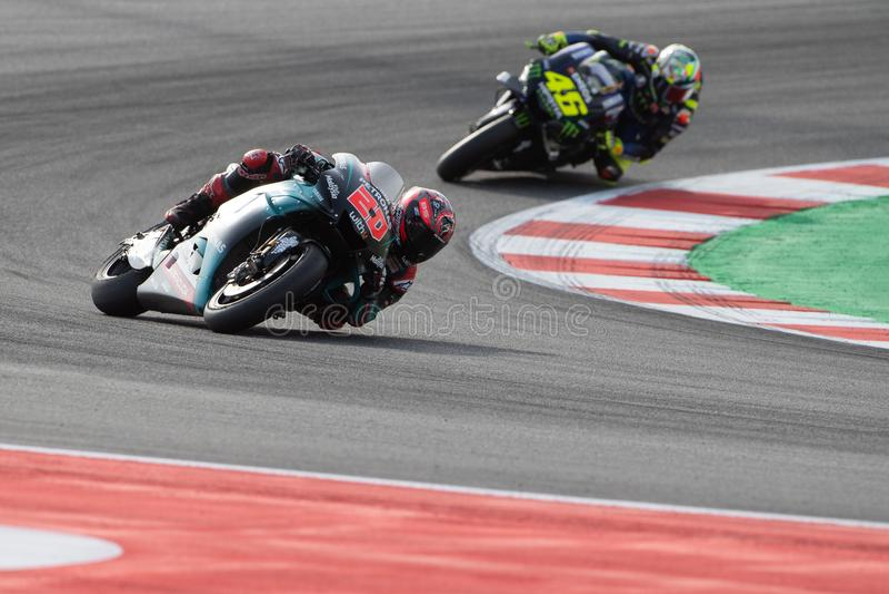 MotoGP VM i söndags Vapen och kapplöpning efter San Marinos och Riminis rörelser royaltyfri foto