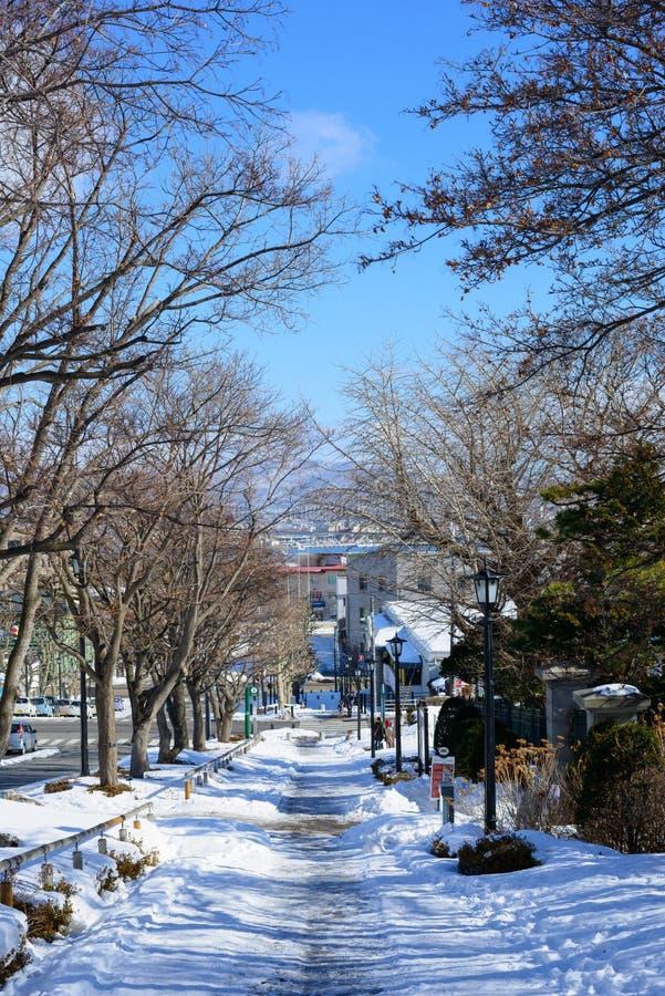 Motoizaka in de stad van Hakodate, Hokkaido stock foto