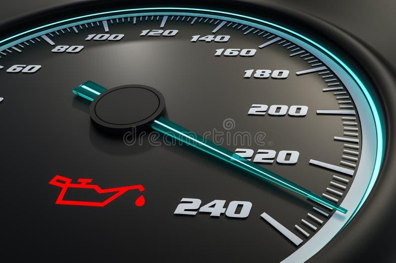 Motoröl-Drucklicht auf Armaturenbrett lizenzfreie abbildung