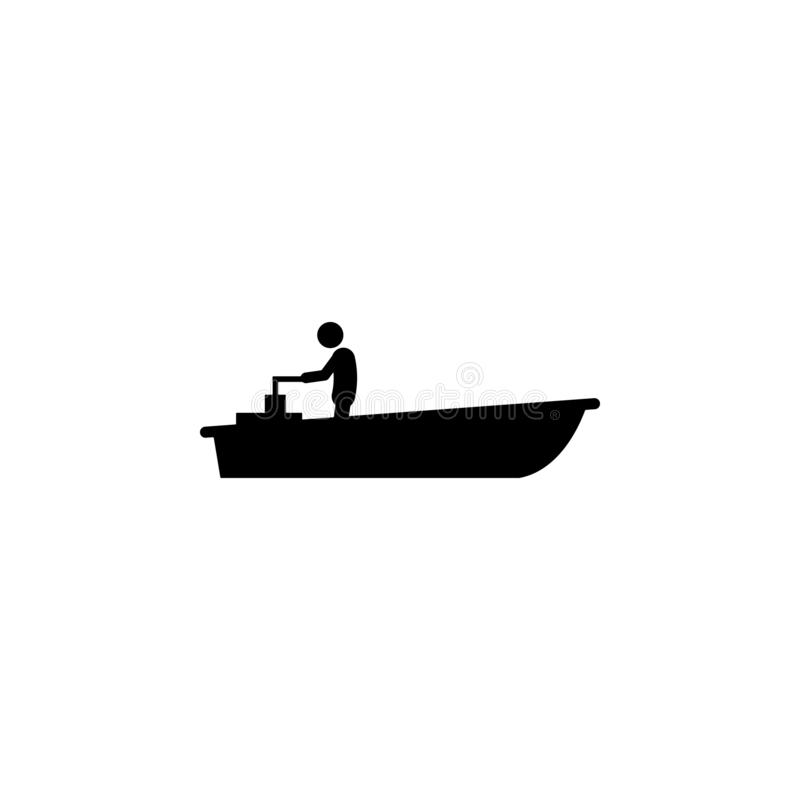 motor, ícone do barco Elemento do ícone do transporte da água para apps móveis do conceito e da Web O motor detalhado, ícone do b ilustração do vetor
