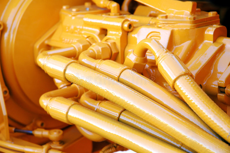 Motor amarillo fotografía de archivo