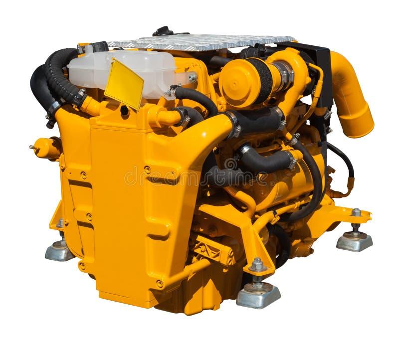 Motor amarillo sobre blanco fotos de archivo