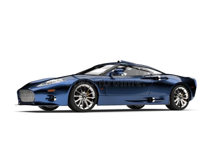 Motor- Atelieraufnahme des modernen metallischen tiefen blauen Supersports vektor abbildung