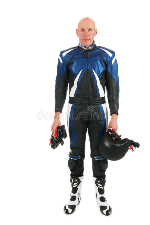 Motor biker. In leather suit isolated over white background royalty free stock photos