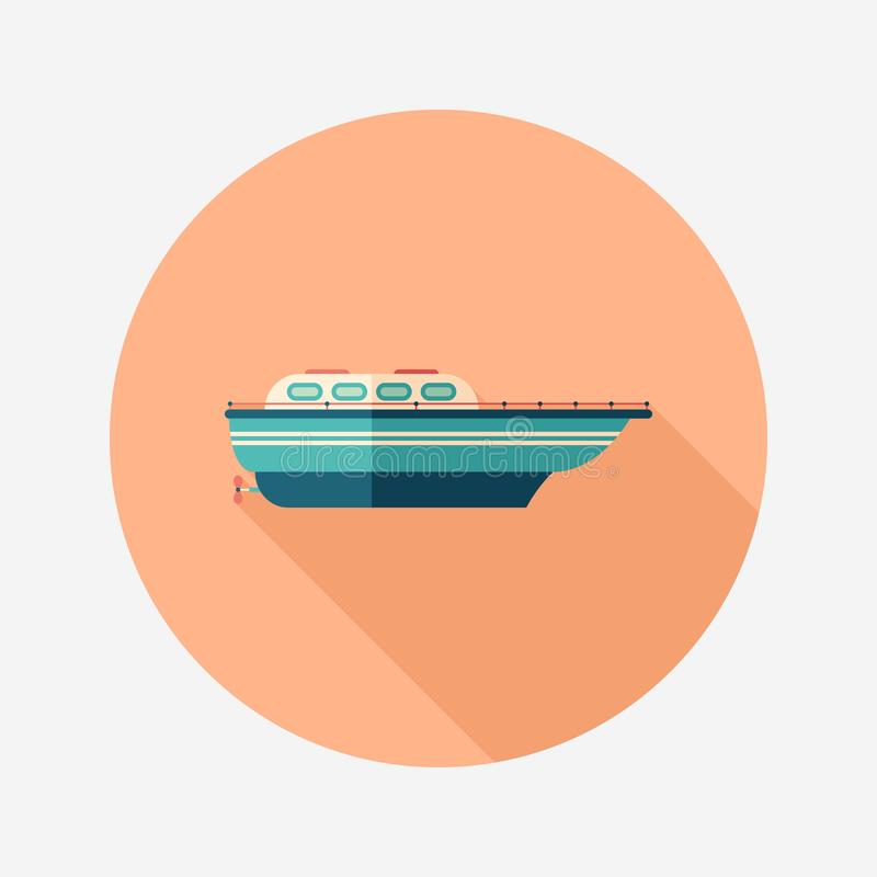 Motor boat flat round icon with long shadows. royalty free illustration