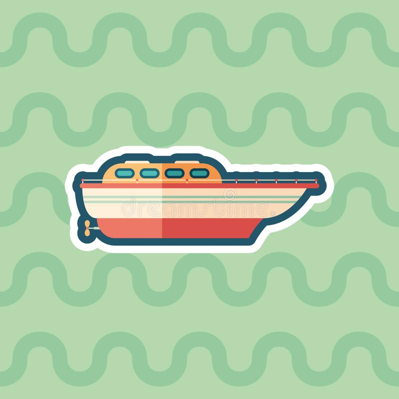 Motor boat sticker flat icon with color background. vector illustration