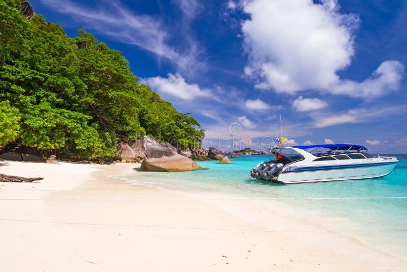 Motor boat at tropical beach of Similan Islands