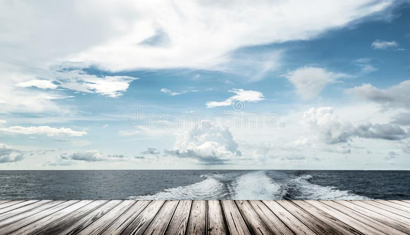 Motor boat water traces in open caribbean sea stock image