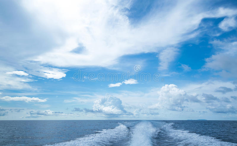 Motor boat water traces in open caribbean sea royalty free stock photos