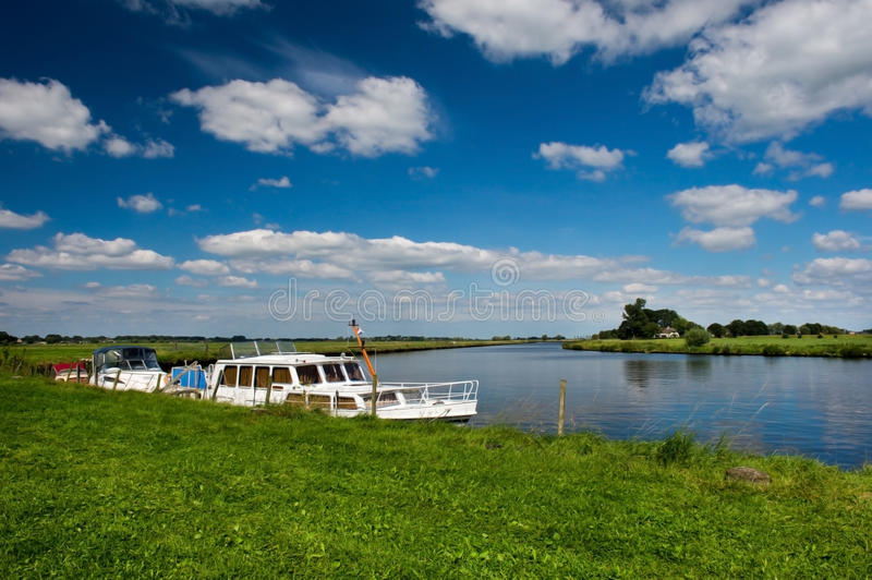 Download Motor boats in Dutch river stock photo. Image of wide - 26917180