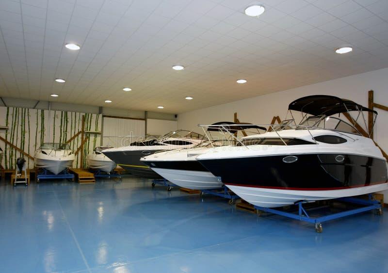 Motor Boats In Hangar Royalty Free Stock Image