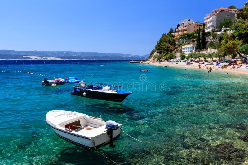 Motor Boats in a Quiet Bay near Split royalty free stock image