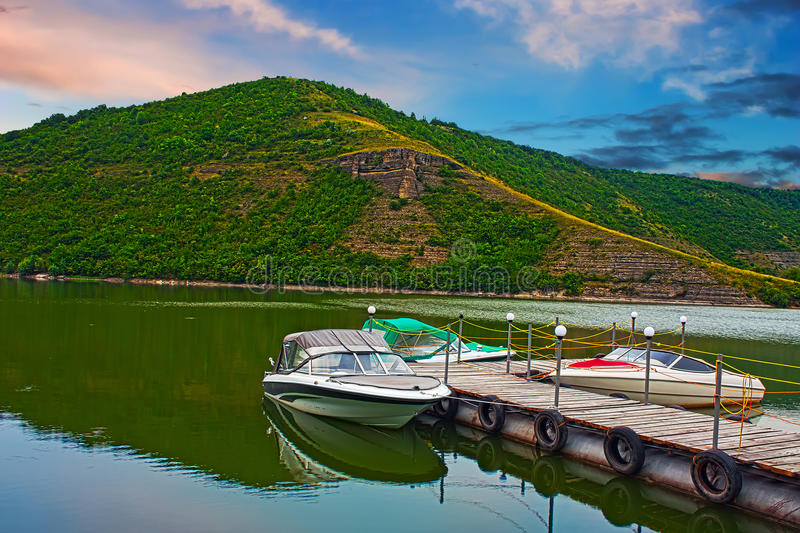 Motor Boats On River Royalty Free Stock Photo