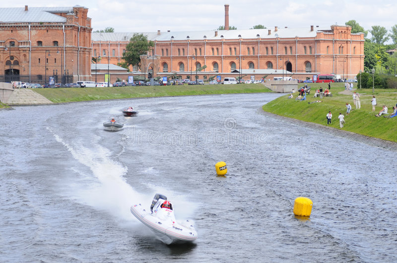 Motor boats in turn of the river royalty free stock images