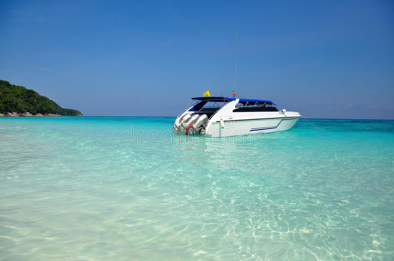 Download Motor Boats On Turquoise Water Of Indian Ocean Stock Photo - Image of beach, transparent: 18065010