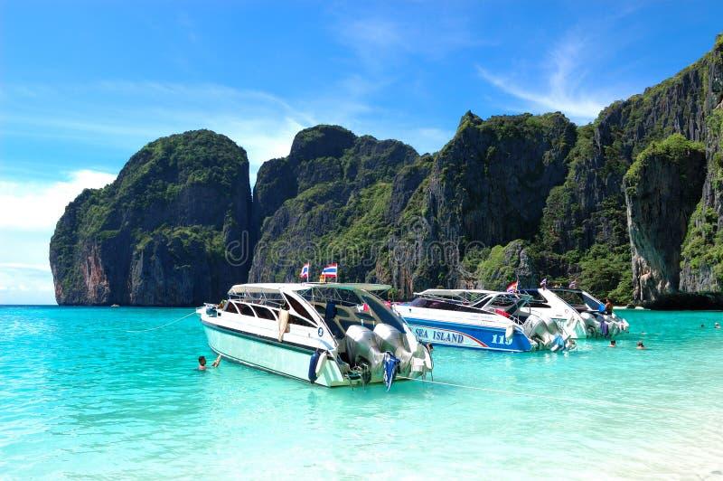Download Motor Boats On Turquoise Water Of Maya Bay Lagoon Editorial Stock Photo - Image: 17994268