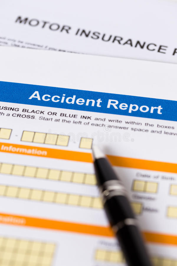 Motor or car insurance accident report form stock photography