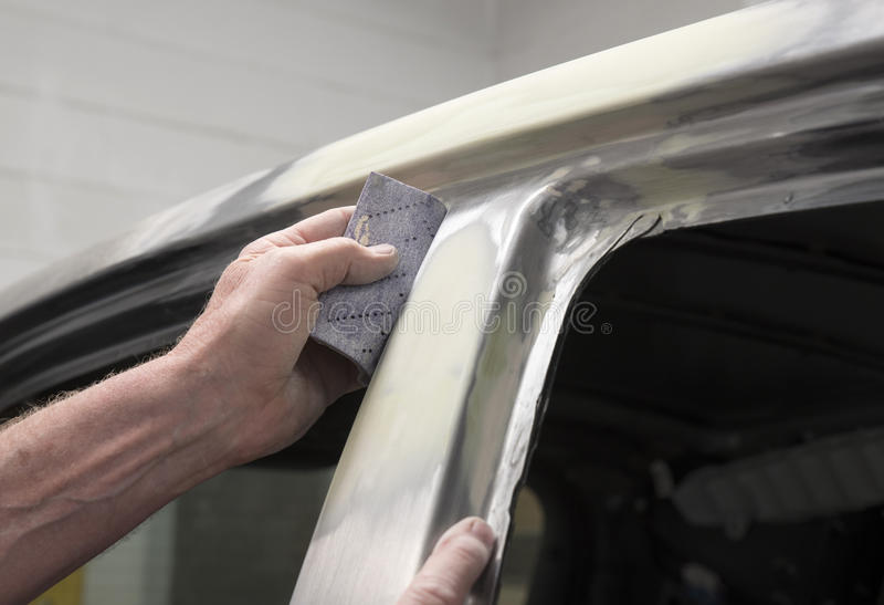Motor car in repair shop royalty free stock images