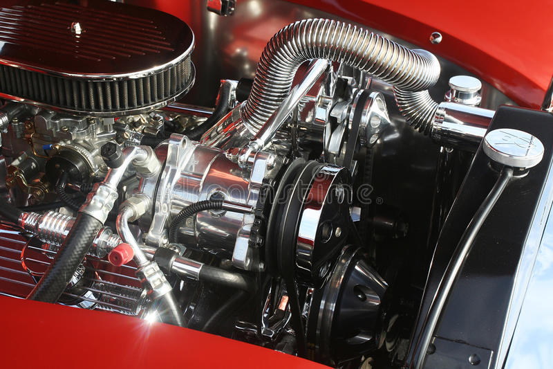Motor clássico de V8 do cromo imagem de stock royalty free
