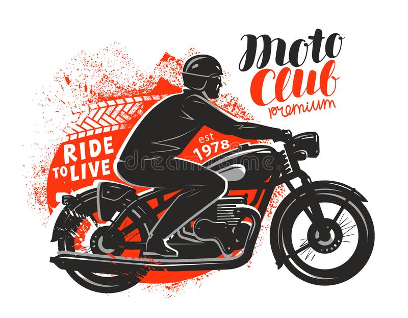 Motor club, banner or poster. Biker rides a retro motorcycle. Vector illustration royalty free illustration