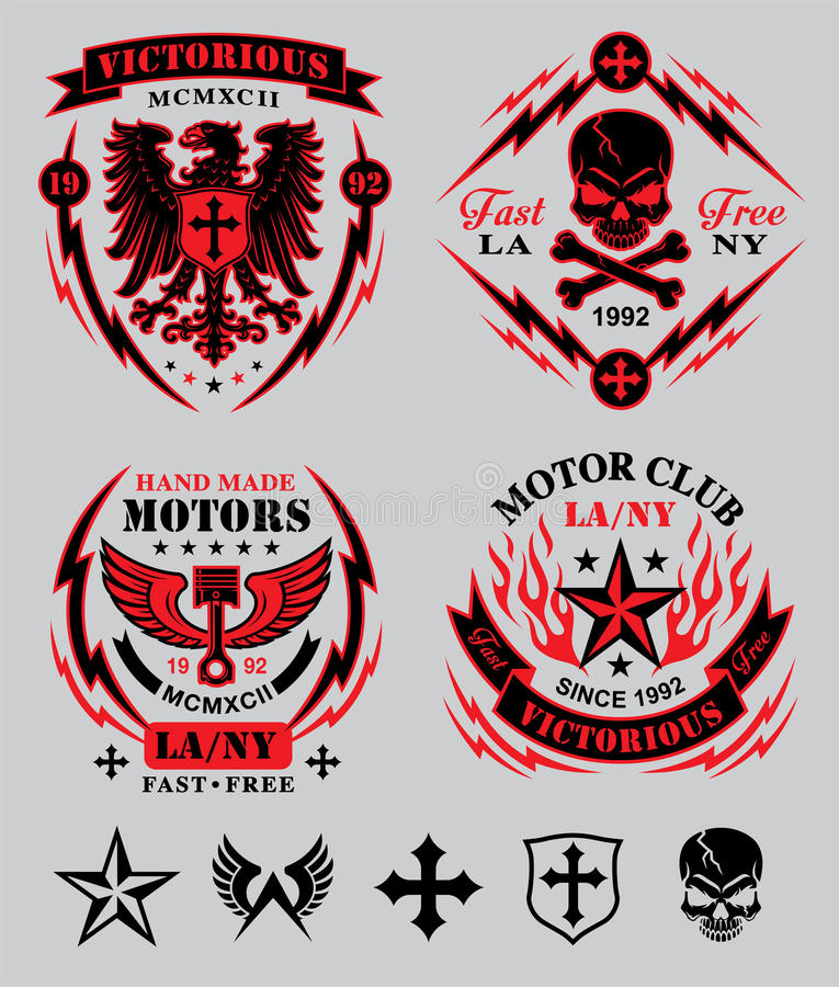 Motor club emblem set. Original motor sport-inspired emblem patch set with coordinating icon elements. Available in eps vector for easy editing royalty free illustration