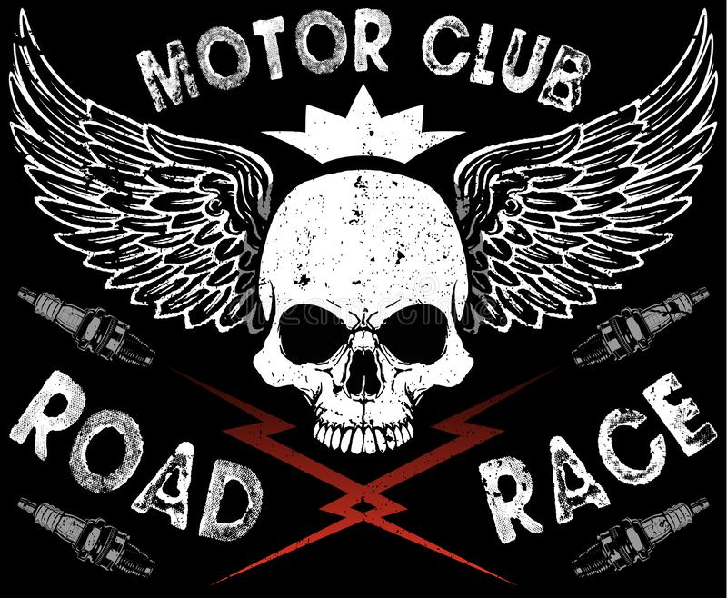 Motor Club Skull Tee. Fashion style vector illustration