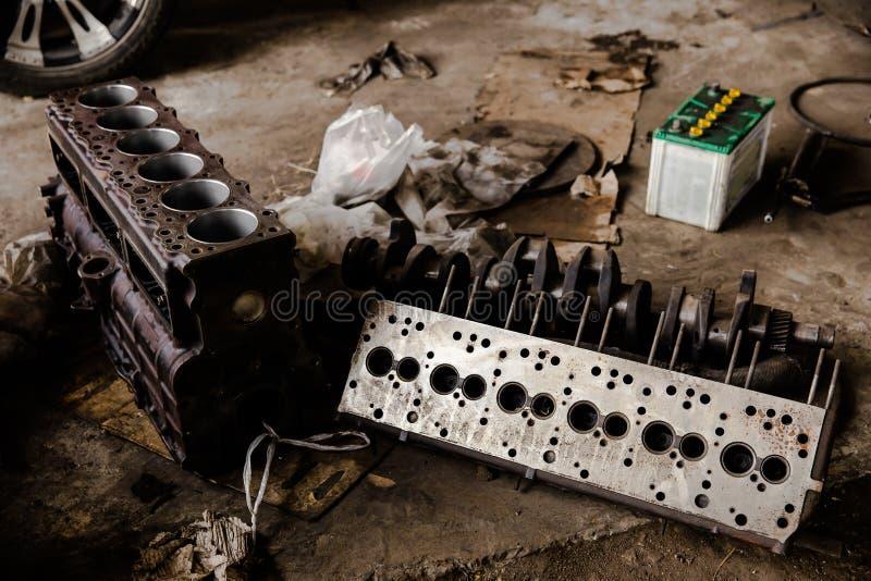 Motor, combust?vel diesel, engrenagem, metal, v?lvula da m?quina fotografia de stock