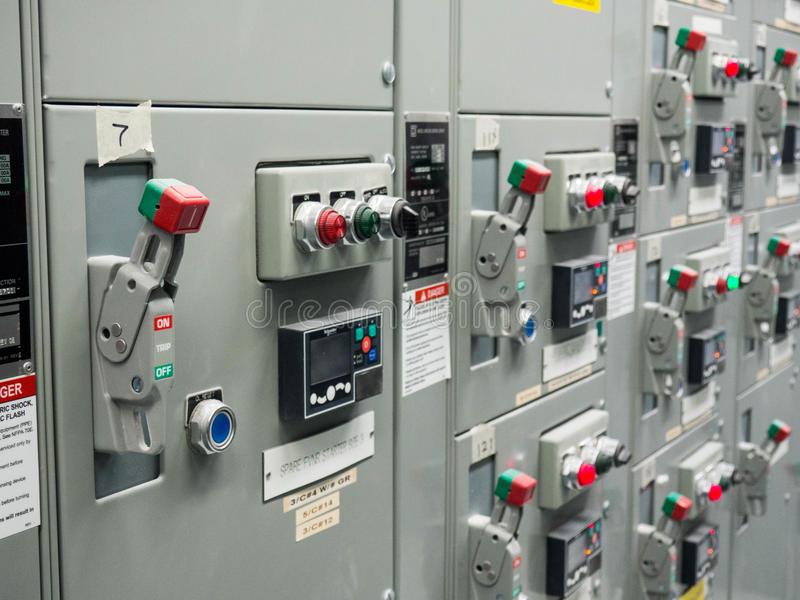 Motor Control Center. Electrical cabinet containing motor controls inside an industrial facility royalty free stock photos