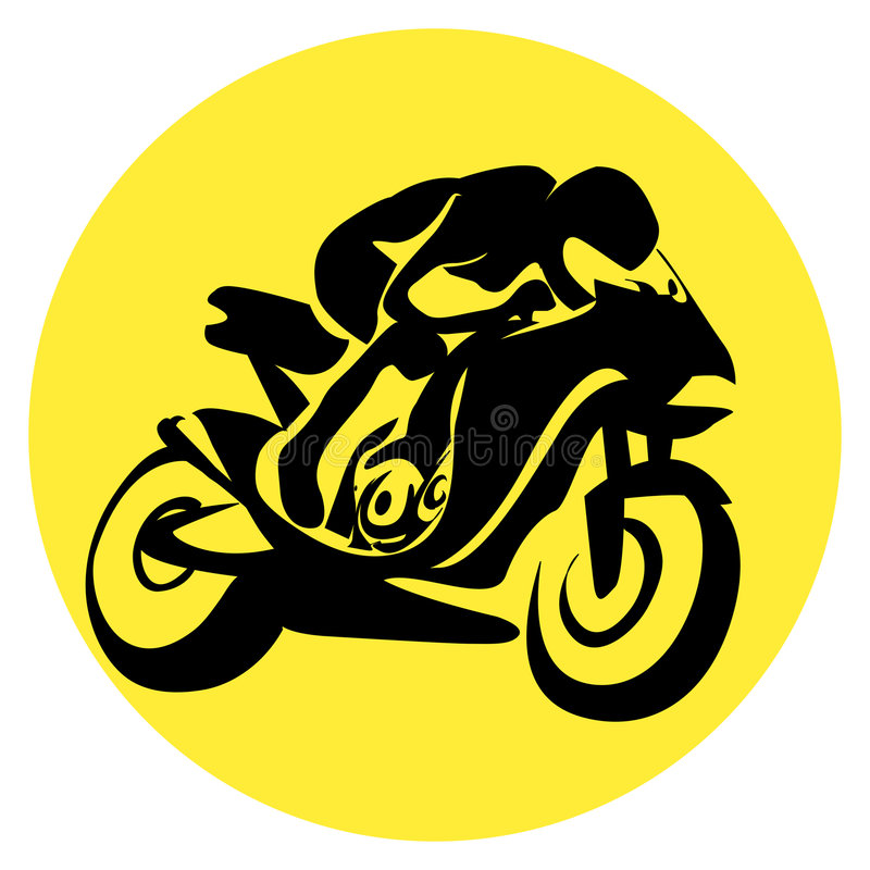 Motor cyclist silhouette stock illustration