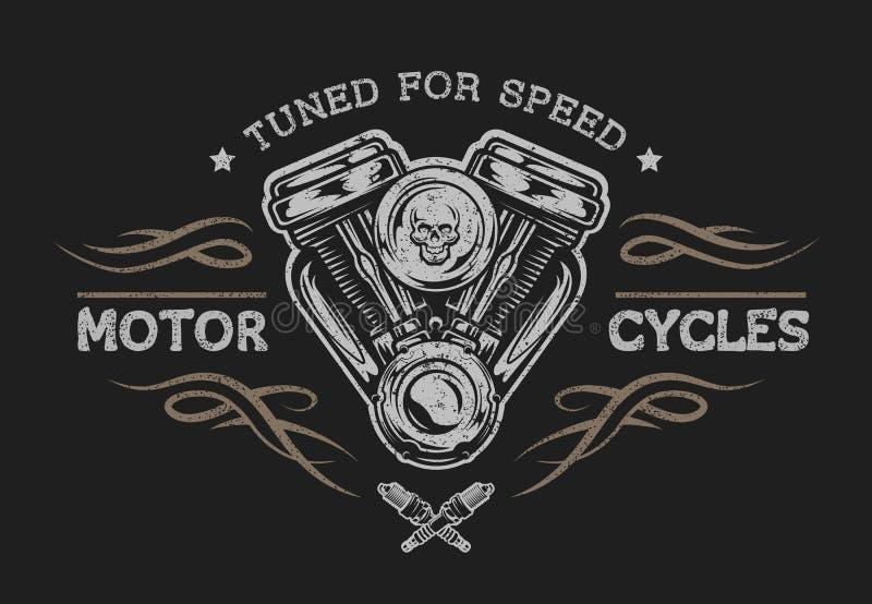 Motor da motocicleta no estilo do vintage ilustração do vetor
