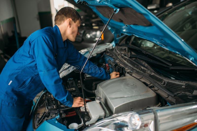 Motor de automóveis dos reparos do mecânico, motor diagnóstico imagem de stock royalty free