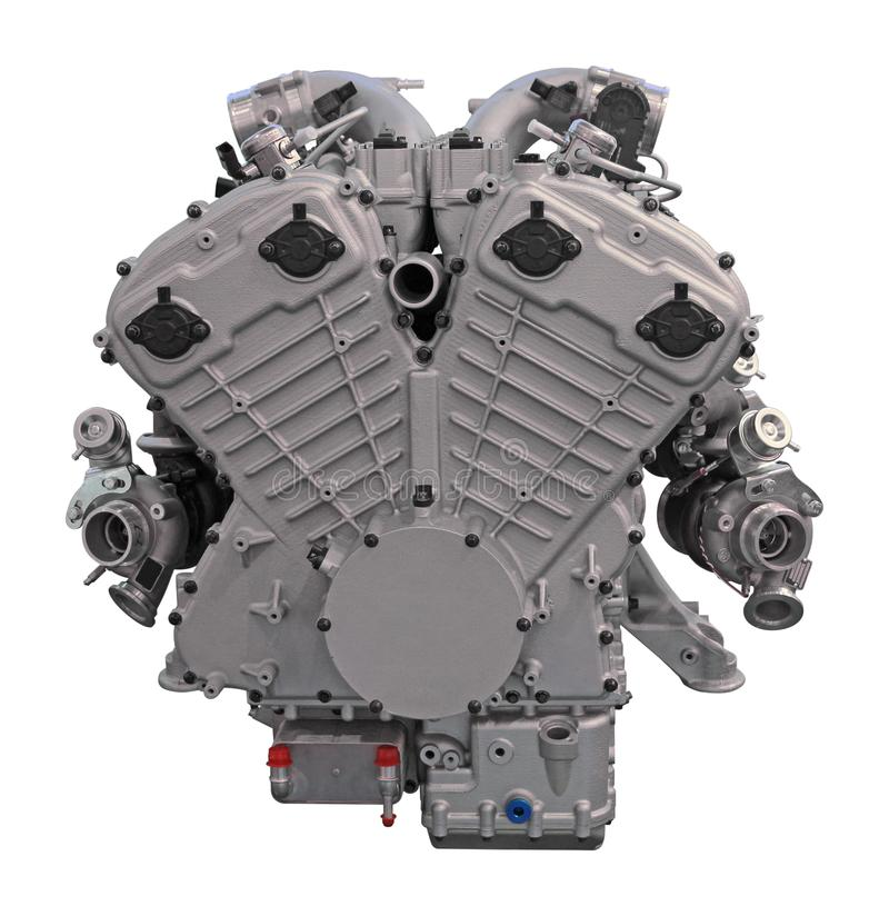 Motor de automóveis moderno isolado no fundo branco fotografia de stock royalty free