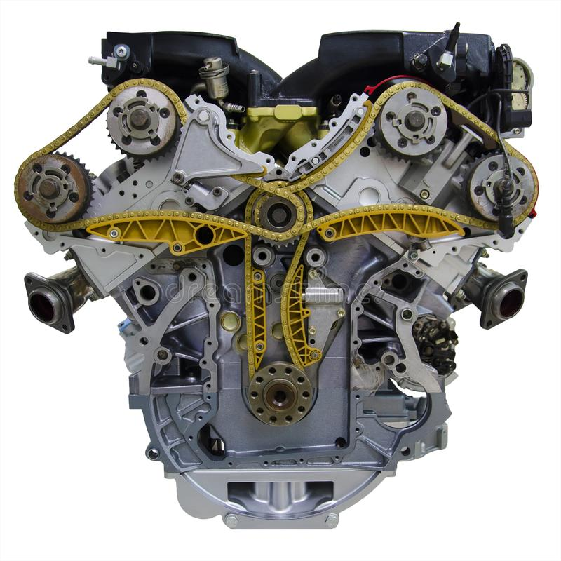 Motor de automóveis de oito cilindros moderno de V8 isolado no fundo branco foto de stock