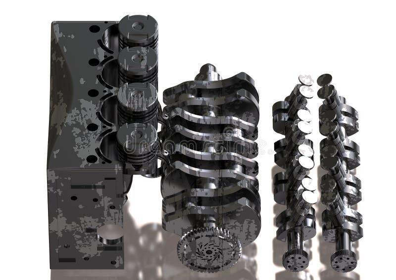 Motor de automóveis preto e de prata desmontado em um branco ilustração stock