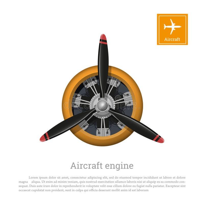 Motor de avión en estilo realista Motor con el propulsor en el fondo blanco libre illustration