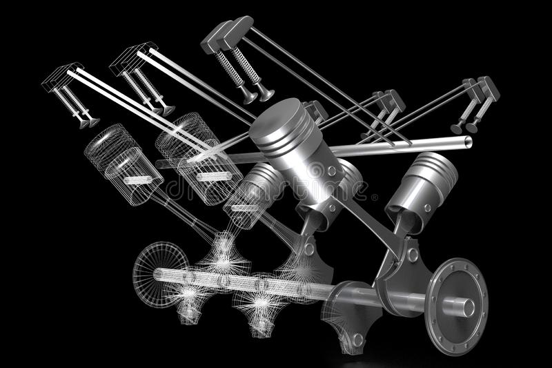 motor de coche del seis-cilindro 3D - modelo del sólido y del wireframe, fondo negro ilustración del vector