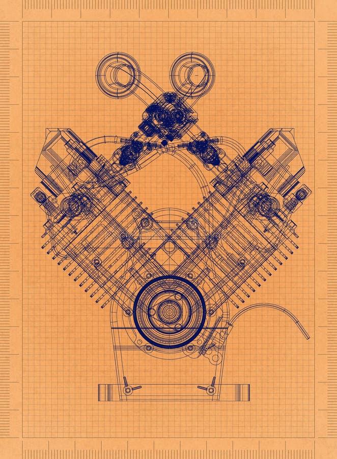 Motor de coche - modelo retro ilustración del vector