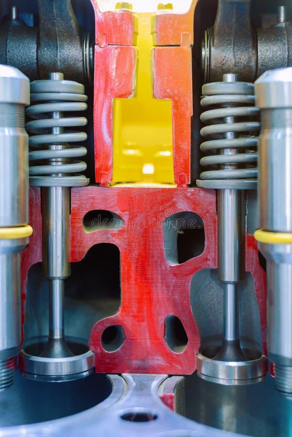 Motor de combustión interna, corte transversal Cámara de combustión de las válvulas fotografía de archivo