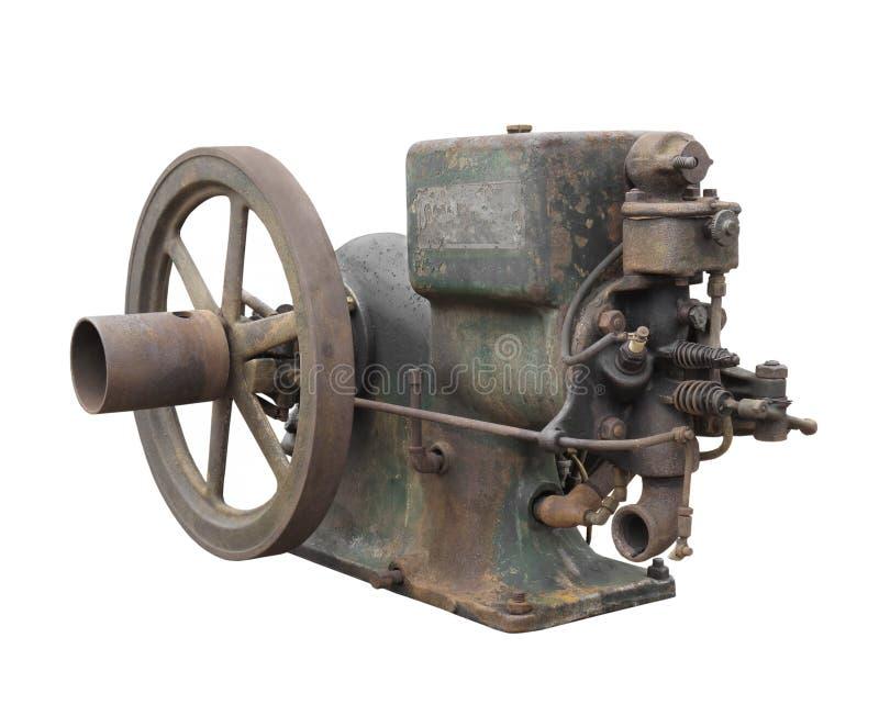 Motor de gasolina pequeno velho isolado foto de stock