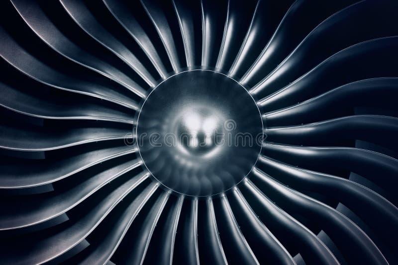 motor de jato da rendição 3D, lâminas do motor de jato da opinião do close-up Matiz azul imagem de stock