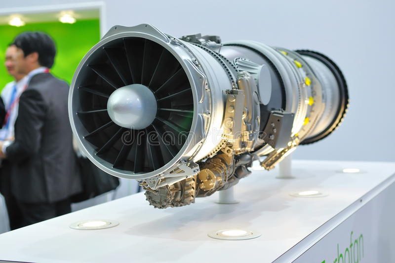 Motor de jato no indicador em Singapore Airshow fotografia de stock