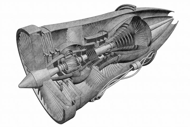Motor de jato tirado mão ilustração stock