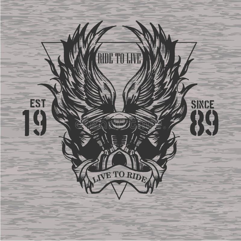 Motor de la motocicleta con el emblema de las alas con la impresión de la camiseta del triángulo libre illustration