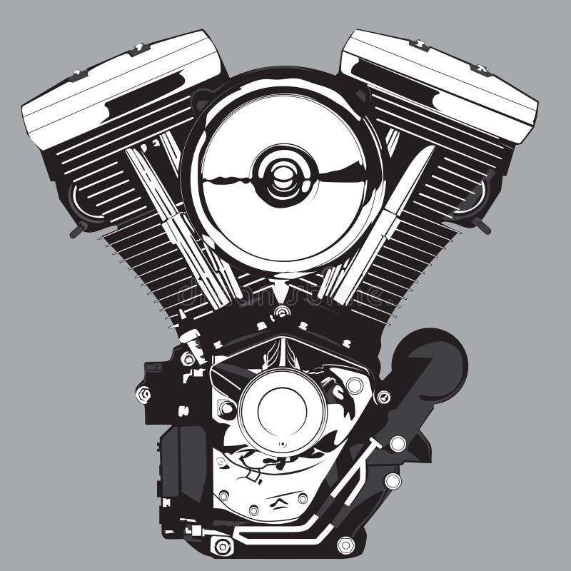 Motor de la motocicleta Ilustración del vector en blanco y negro libre illustration